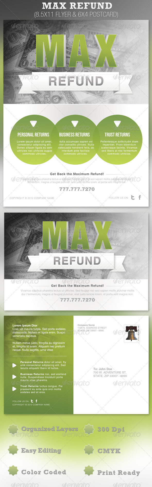 GraphicRiver Max Refund Flyer and Postcard Template 1275908