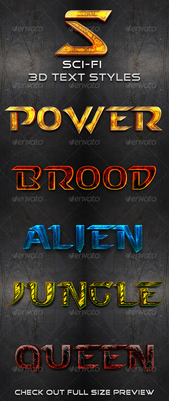 Graphic River Sci-Fi 3D Text Styles Add-ons -  Photoshop  Styles  Text Effects 153867