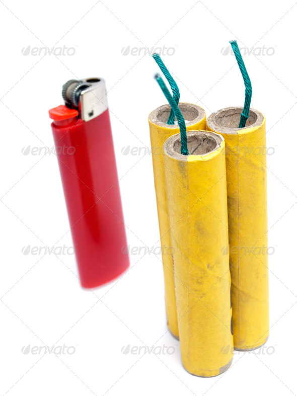 Firecrackers and lighter - Stock Photo - Images