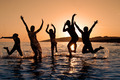 Silhouette of family jumping - PhotoDune Item for Sale