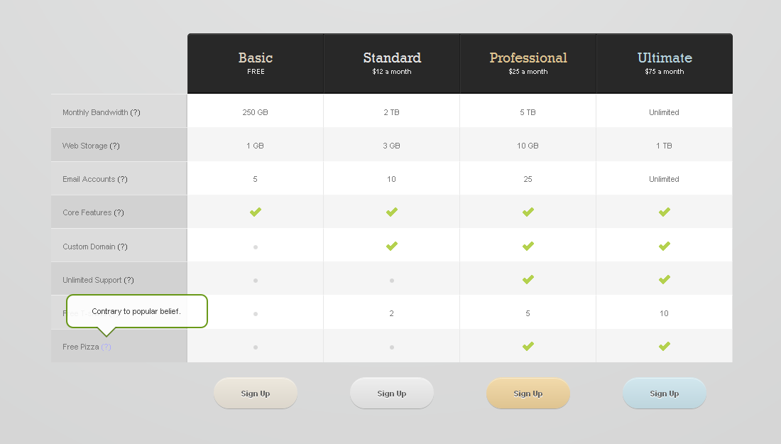 Pricing Tables for Websites (fully CSS based) - Pricing Tables (Sample_01) Preview in FF v9.0.1
