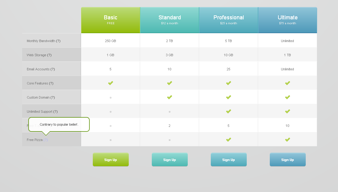 Pricing Tables for Websites (fully CSS based) - Pricing Tables (Sample_02) Preview in Chrome v16