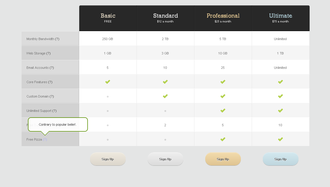 Pricing Tables for Websites (fully CSS based) - Pricing Tables (Sample_01) Preview in Opera v11.60