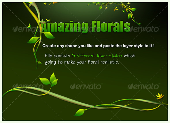 green floral layer styles  - Text Effects Styles
