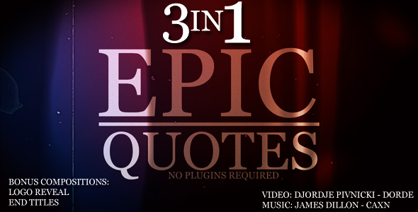[VideoHive 154076] Epic Quotes 3IN1 | After Effects Project