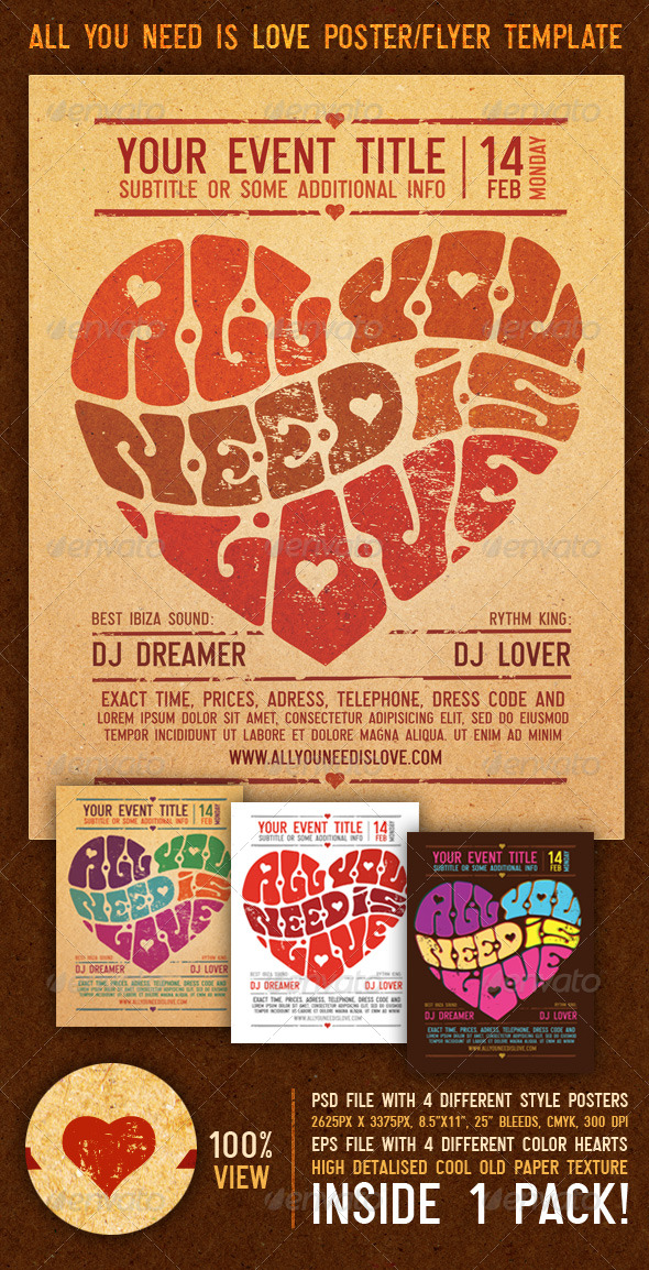 All You Need Is Love Vintage Poster/Flyer Template - Clubs &amp; Parties Events