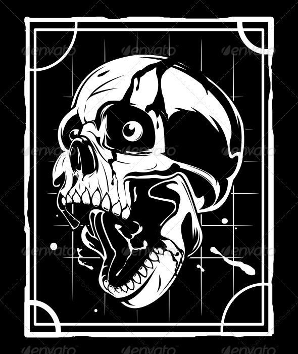 Black and White Skull - Characters Vectors