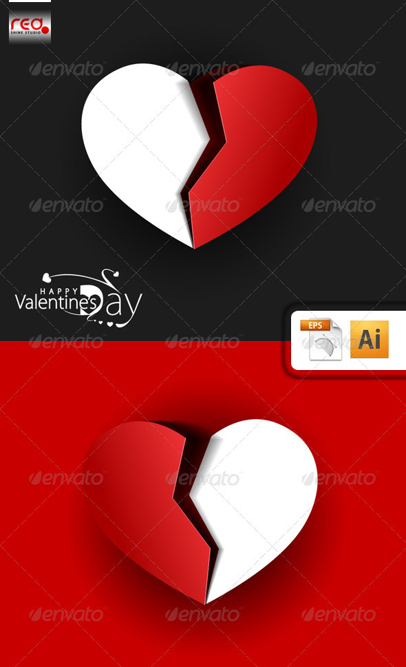 Valentine's day break heart shape  - Valentines Seasons/Holidays