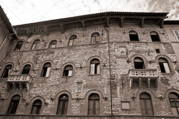 Historic Palace. Perugia. Umbria. - Stock Photo - Images