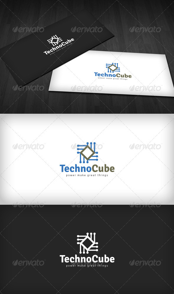 Techno Cube Logo - Vector Abstract