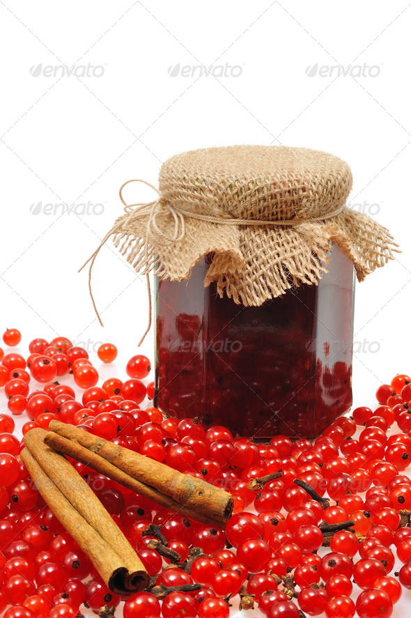 Currant jam - jars of homemade red currant jam with fresh fruits - still life - detail - isolated - Stock Photo - Images