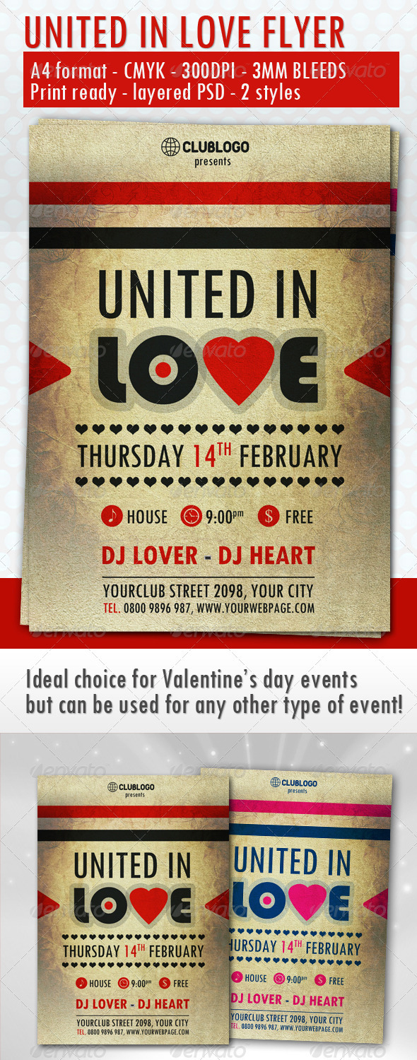 United In Love Flyer - Clubs & Parties Events