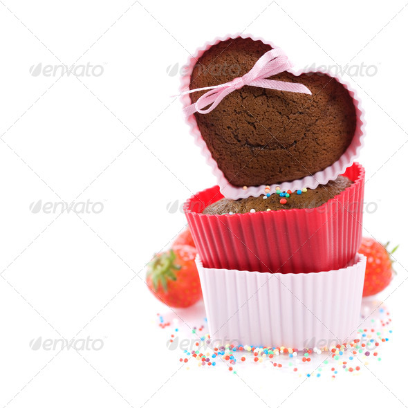 heart shape muffins - Stock Photo - Images