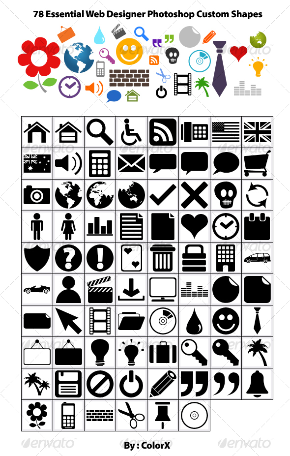 GraphicRiver 78 Essential Web Designer Photoshop Custom Shapes 39098