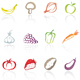 fruit and vegetable icons - GraphicRiver Item for Sale