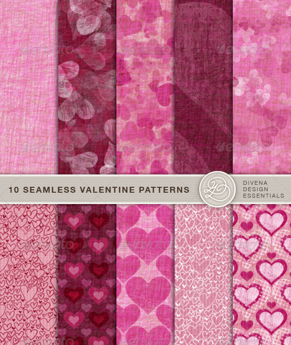 10 Seamless Valentine Patterns - Artistic Textures / Fills / Patterns