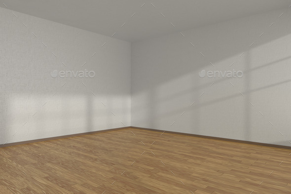 White Empty Room Corner With Parquet Floor Stock Photo By Alexeysmirnov