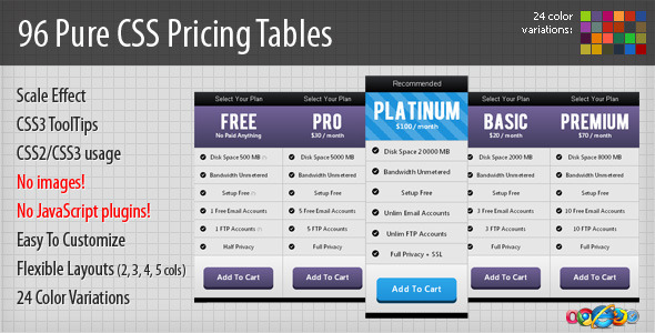 96 Pure CSS Pricing Tables - CodeCanyon Item for Sale