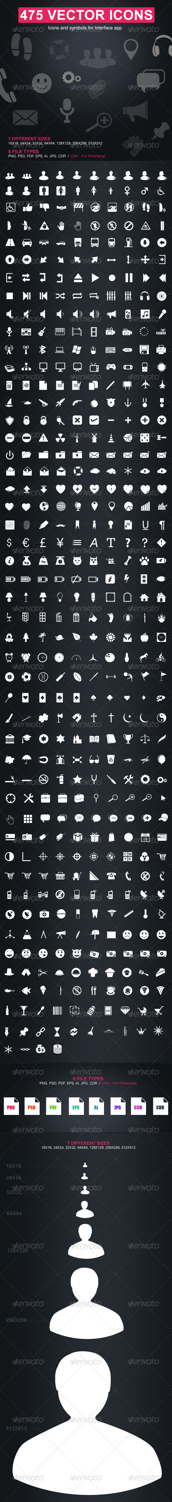 GraphicRiver 475 Vector Icons 1286396