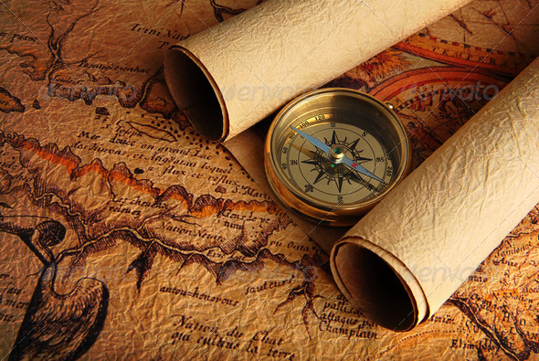 Stock Photo - PhotoDune Compass and a map 1312048