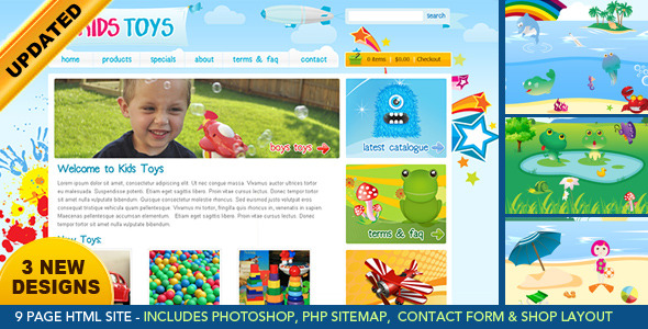 Kids Toys - 9 Page HTML Site - Shopping Cart - Children Retail