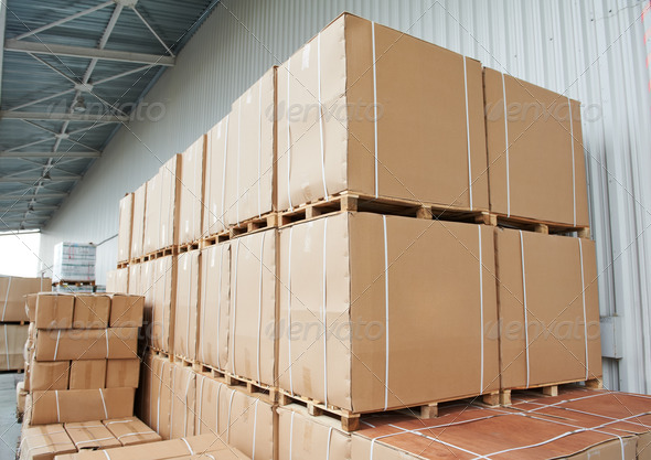 warehouse cardboard boxes arrangement outdoors - Stock Photo - Images