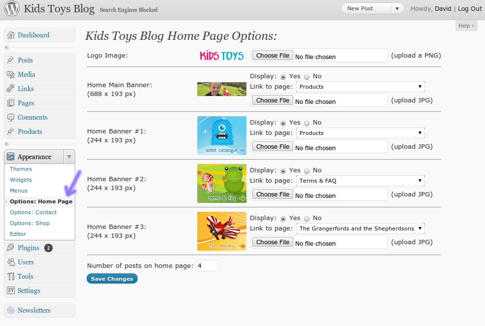 Kids Toys - WordPress Shop Theme - Easily change the banners on the home page, and where they link to.  Upload a new logo to the wordpress blog as well.