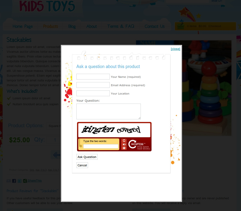 Kids Toys - WordPress Shop Theme - Lightbox popup of the 'ask questions' box. These questions are emailed directly to the shop owner. Great for getting sales leads in!