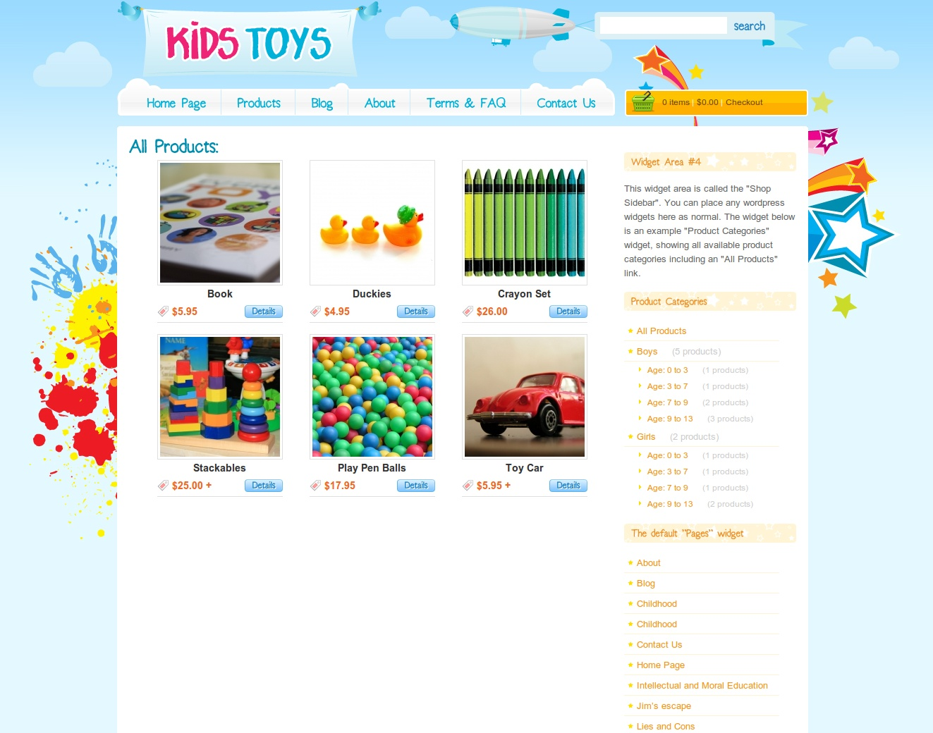 "Kids Toys - WordPress Shop Theme - the ""all products"" page. showing all our products and a list of wordpress shop categories on the right."