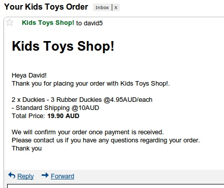 Kids Toys - WordPress Shop & Newsletter - This is preview of the email that is sent as order confirmation. This can be customised within the settings.