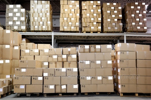 catron boxes in warehouse - Stock Photo - Images