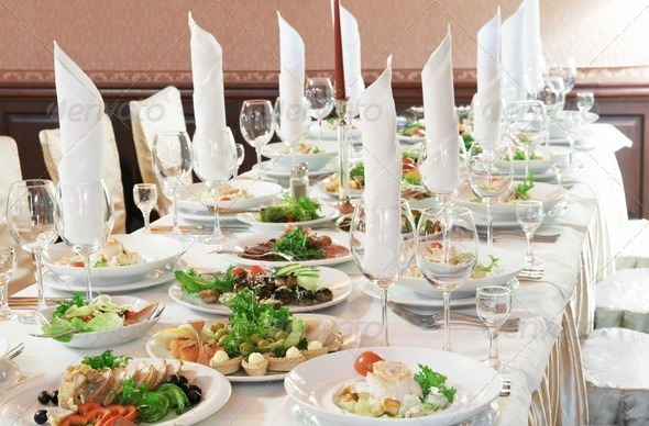 close-up catering table set - Stock Photo - Images