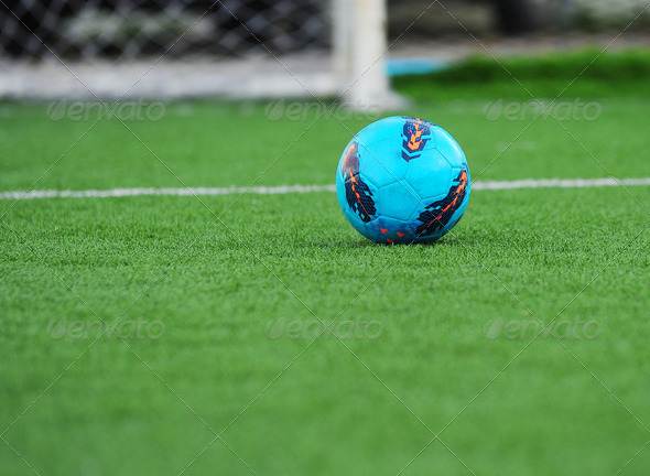 soccer ball on  grass - Stock Photo - Images