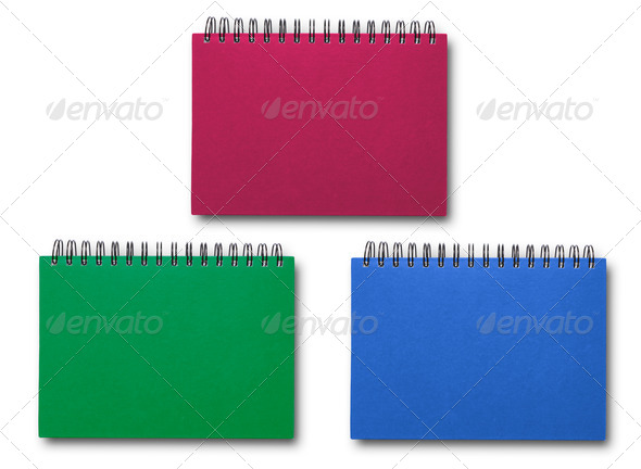 Red Green Blue notebook  collection - Stock Photo - Images