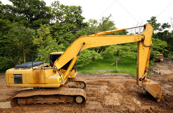 Heavy excavator construction truck - Stock Photo - Images