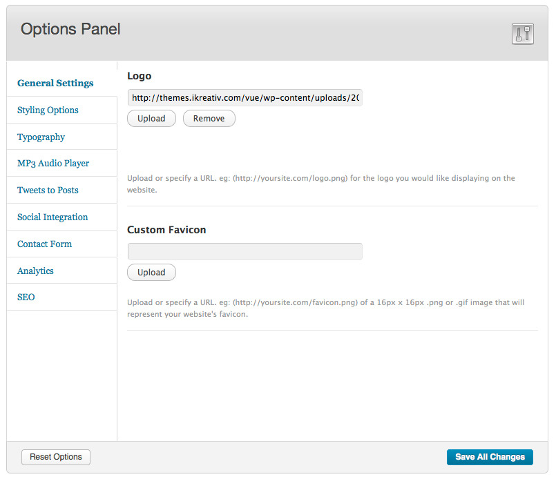 Vue Responsive WordPress Theme - This is the theme options panel featuring all of the available options.