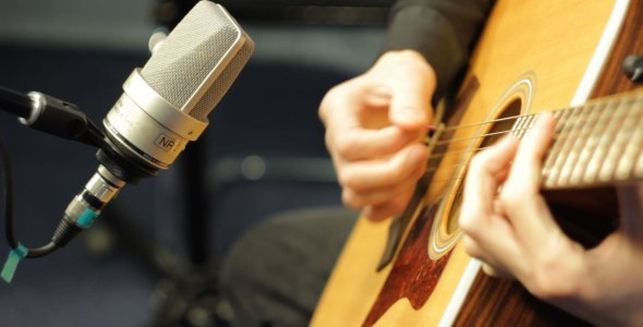 [VideoHive 1314653] Recording Acoustic Guitar in Studio | Stock Footage