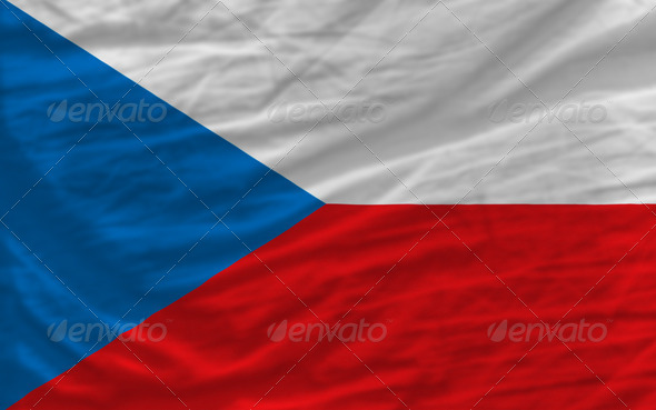 complete waved national flag of czech for background - Stock Photo - Images
