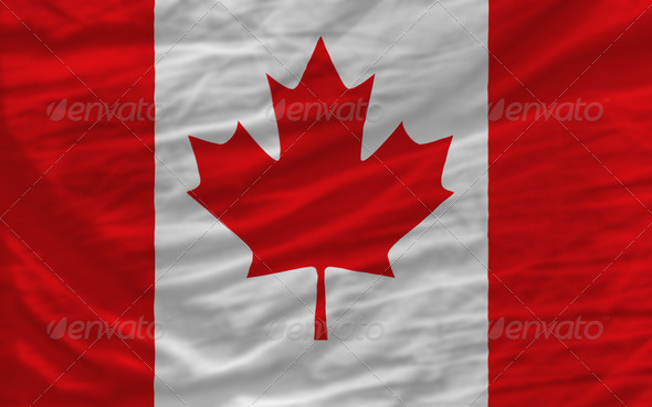 complete waved national flag of canada  for background - Stock Photo - Images