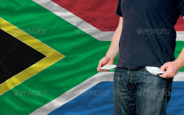 recession impact on young man and society in south africa - Stock Photo - Images