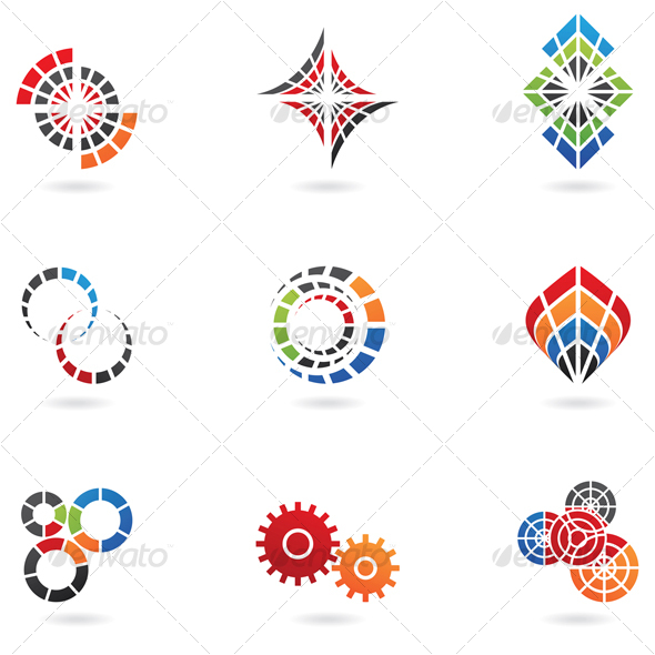 colourful cog icons - Abstract Icons