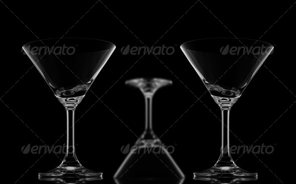 Two Sharp Cocktail glasses and one blur - Stock Photo - Images