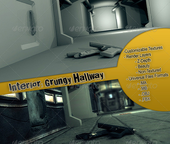 3DOcean Interior Grungy Hallway 158364