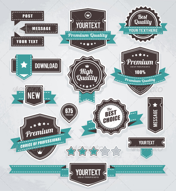 Vector set of retro labels, buttons and icons - Vectors 