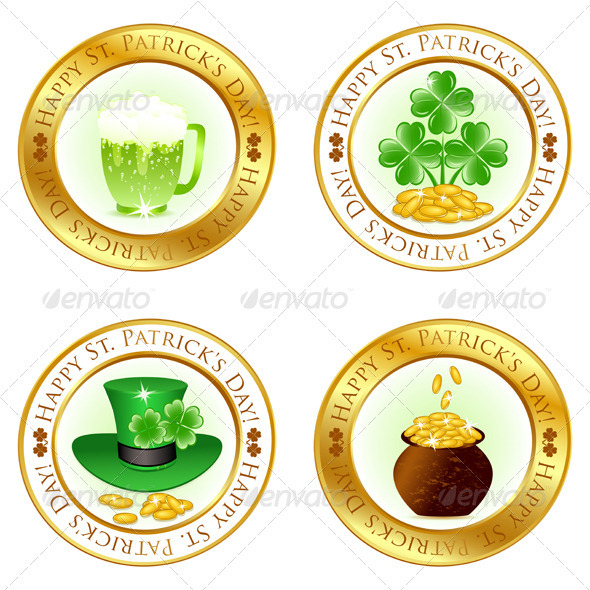 Set of Four Glossy Icons  - Seasons/Holidays Conceptual
