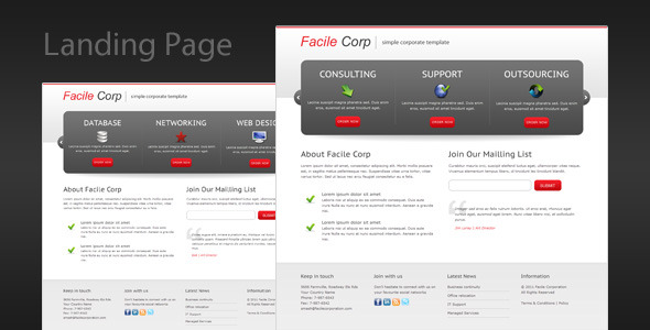 ThemeForest Facile Corp Clean and Professional Landing Page 158109