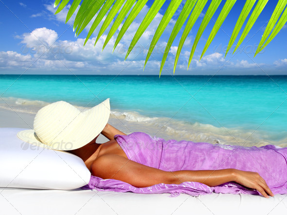 Caribbean tourist resting beach hat woman - Stock Photo - Images