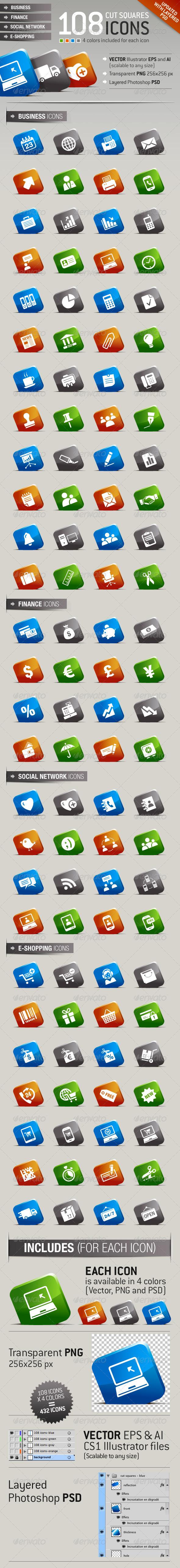 108 Cut Squares Icons