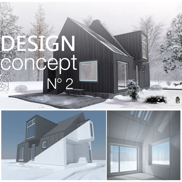 3DOcean Contemporary Modern Forest Cottage 1327875