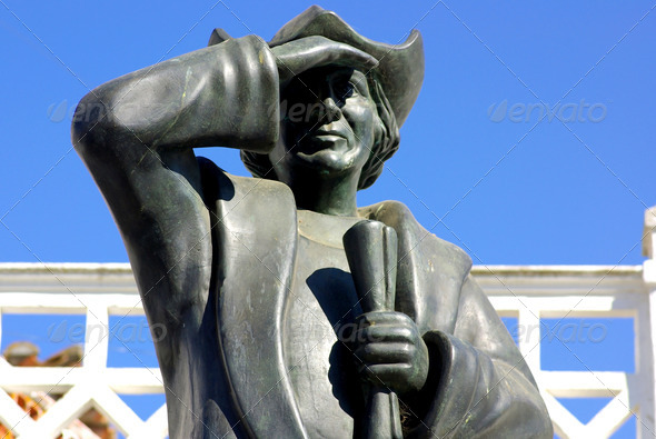 statue of Colon, great navigator - Stock Photo - Images
